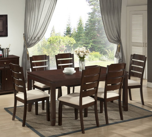 Baxton Studio - Victoria 7-piece Modern Wood Dining Set - Enter our Victoria Dining Set, which takes what once was dull and transforms it into a beautiful, contemporary dining furniture option. This stylish set includes a table with removable leaf and six matching chairs with beige fabric seat cushions.