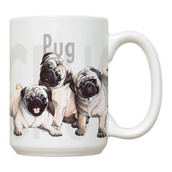 295-Pug Puppies Mug - 15 oz. Ceramic Mug. Dishwasher and microwave safe It has a large handle that's easy to hold.  Makes a great gift!