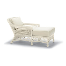 Frontgate - Hampton Outdoor Chaise Lounge with Cushions in Off-White Finish, Patio Furniture - Handwoven premium ivory resin wicker. UV-protected, antimicrobial. Rust-resistant powdercoated frame. Cushions included. 100% solution-dyed and woven fabrics. Our Hampton Chaise Lounge has a relaxed, southern attitude, intricately handwoven in weathered ivory resin wicker. Relax and unwind in thick, all-weather seat and back cushions. Smoothly woven tables are the perfect finish. Part of the Hampton Collection.  .  .  .  .  . All-weather cushions have a high-resiliency foam core wrapped in plush polyester.