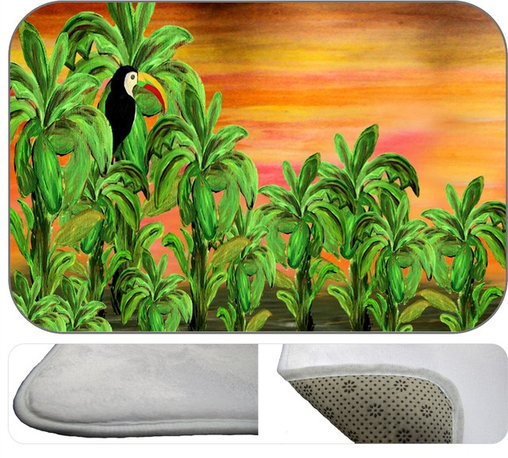 Toucan Banana Plush Bath Mat, 20X15 - Bath mats from my original art and designs. Super soft plush fabric with a non skid backing. Eco friendly water base dyes that will not fade or alter the texture of the fabric. Washable 100 % polyester and mold resistant. Great for the bath room or anywhere in the home. At 1/2 inch thick our mats are softer and more plush than the typical comfort mats.Your toes will love you.