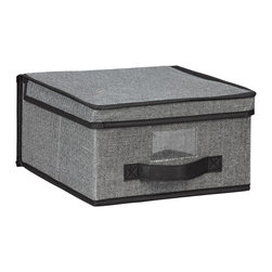 None - Kennedy Home Collection Grey Medium Storage Box - Keep clutter organized, out of sight and out of mind with the Kennedy Home Collection Medium Storage Box. This functional storage piece features a hinged lid, a label window, and a collapsible design.