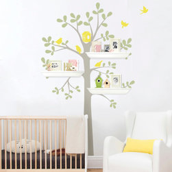 "Shelving Tree with Birds - Three Colors, Scheme B, Small - 51""w x 88""h - This is a tree decal that is created to work with standard 24"" wall shelves that you can find at your local Target, Walmart, Ikea etc.. (shelving NOT INCLUDED) There are three locations where you can fit the shelves. This tree looks great on its own as well!"