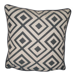 "WingBack - Centre County Seat Accent Pillow - Centre County Seat Accent Pillow constructed from a Steel Blue and Ivory fabric.  This fabric is from the J. Ennis Fabric collection Caravan and is called ""Gypsy"".  16"" X16"" poly pillow form with zipper closure for cleaning."