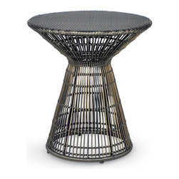 Kathy Kuo Home - Verona Coastal Beach Espresso Wicker Side Table - This fair table sets the scene for seaside serenity. The inviting hourglass shape offers an intimate space for two. With coffee-colored, hand-woven, all-weather synthetic wicker, it is perfect for romantic nights on the patio or balcony.