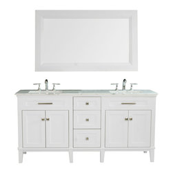 """Stufurhome - 72"""" Christine Double Sink Vanity with White Marble Top - The 72"""" Christine Double Sink Vanity makes a magnificent centerpiece for larger bathroom spaces. The delicate painted finish, topped by gleaming white marble, is understated yet elegant; while the vanity. Dimensions: 72 in. x 22 in."""