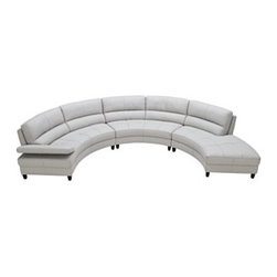 Franchesca Sectional Sofa, 3 Piece (Loveseat, Armless Loveseat and Chaise) - This sectional sofa is so perfect for a theater room or family room that's a bit on the cozy side.  It's curved shaped will fit nicely in rooms where normally a sectional would overwhelm.