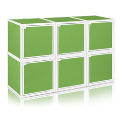Way Basics - BOX (6 cubes), Green - Box will easily stack, connect and align to create your perfect organizer! Form a 6-tiered nightstand or a side by side double cubby and accessorize with a door to hide that inevitable clutter. The simple, modern design of the Bo will complement and adorn any room.