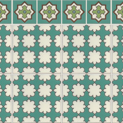 Mediterranean - Loretto pattern from the Sea Lane Collection is a playful take on a traditional Morocaan pattern. Whether used as a bath wainscot or even as a pool or fountain tile, Loretto looks fresh.