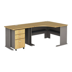 Bush - Bush Series A 3-Piece Corner Computer Desk in Light Oak - Bush - Office Sets - WC64366PKG3 - Bush Series A 3 Drawer Vertical Mobile Wood File Cabinet in Light Oak (included quantity: 1) Put your files in good hands with the Bush Series A Collection Three Drawer File Cabinet, a subtle solution which fits easily under virtually any desk. This classy filing cabinet stands nicely on its own and will excellently complement other Bush Furniture pieces.  Features: