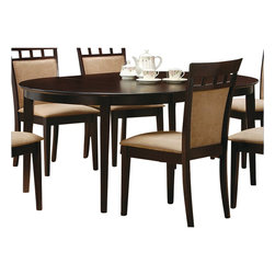 Coaster - Coaster Hyde Oval/Round Dining Table in Cappuccino - Coaster - Dining Tables - 100770 - This lovely dining table will be the perfect addition to your casual contemporary home. The simply styled piece has a smooth oval shaped table top above sleek square tapered legs. The table has a leaf shown here extended to change the top from a 42 inch diameter circle to a 60 inch long oval so you can accommodate dinner guests. Available in a Cappuccino finish to complement your decor and with different chair options to suit your taste this table will complete your casual dining ensemble. Pair with any chair from this collection for a harmonious look that you will love.