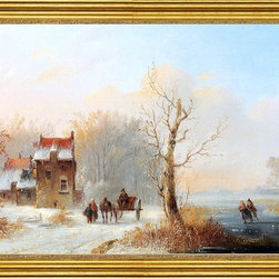 """Jacobus Van Der Stok-16""""x24"""" Framed Canvas - 16"""" x 24"""" Jacobus Van Der Stok A Winter Landscape With Skaters On A Frozen waterway And A Horse-drawn Cart On A Snow-Covered Track framed premium canvas print reproduced to meet museum quality standards. Our museum quality canvas prints are produced using high-precision print technology for a more accurate reproduction printed on high quality canvas with fade-resistant, archival inks. Our progressive business model allows us to offer works of art to you at the best wholesale pricing, significantly less than art gallery prices, affordable to all. This artwork is hand stretched onto wooden stretcher bars, then mounted into our 3"""" wide gold finish frame with black panel by one of our expert framers. Our framed canvas print comes with hardware, ready to hang on your wall.  We present a comprehensive collection of exceptional canvas art reproductions by Jacobus Van Der Stok."""