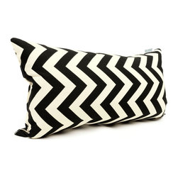 Majestic Home - Outdoor Black Chevron Small Pillow - Add a splash of color and a little texture to any environment with these great indoor/outdoor plush pillows by Majestic Home Goods. The Majestic Home Goods Small Pillow will add additional comfort to your living room sofa or your outdoor patio. Whether you are using them as decor throw pillows or simply for support, Majestic Home Goods Small Pillows are the perfect addition to your home. These throw pillows are woven from Outdoor Treated polyester with up to 1000 hours of U.V. protection, and filled with Super Loft recycled Polyester Fiber Fill for a comfortable but durable look. Spot clean only.