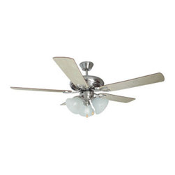 DHI-Corp - Bristol 52-Inch 3-Light 5-Blade Ceiling Fan, Redwood or Light Maple Blades - The Design House 154013 Bristol 52-Inch 3-Light 5-Blade Ceiling Fan features a satin nickel finish with alabaster glass shades that are ideal for any room in the house. Use the pull chain to control your 3-speed motor and toggle between three different speed settings. The (5) fan blades have a light maple finish on one side and a redwood finish on the other. Choose between close-up, 6-inch and 18-inch downrods or vaulted mount for angled ceilings. Run the motor in reverse to help conserve energy costs during all seasons. Blades can be run on the normal setting during the summer to create cooling air flow and on reverse in the winter to re-circulate warm air from the ceiling. This fan is UL listed, rated for 120-volts and features (3) 60-watt candelabra base incandescent lamps. Adaptable light kit is included. Measuring 52-inches, this fixture adds a dramatic accent to any home or condominium. Coordinate your home with the rest of the Monte Carlo collection, which features a beautiful matching pendant, chandelier, vanity and ceiling mount. The Design House 154013 Bristol 52-Inch 3-Light 5-Blade Ceiling Fan comes with a 10-year limited warranty that protects against defects in materials and workmanship. Design House offers products in multiple home decor Categories including lighting, ceiling fans, hardware and plumbing products. With years of hands-on experience, Design House understands every aspect of the home decor industry, and devotes itself to providing quality products across the home decor spectrum. Providing value to their customers, Design House uses industry leading merchandising solutions and innovative programs. Design House is committed to providing high quality products for your home improvement projects.