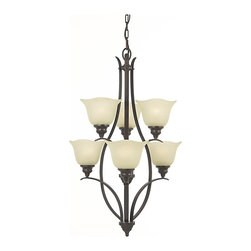 Murray Feiss - Murray Feiss Morningside Transitional Chandelier X-ZBG3+3/1502F - Two tiers and elongated shape give a unique flair to this Murray Feiss chandelier. From the Morningside Collection, it features a warm Grecian Bronze finish that highlights the shape and clean, flowing lines. Meanwhile, six inverted cream snow glass shades ensure it will cast a warm glow throughout any space.