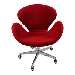 Fine Mod Imports - Swan Office Chair in Red Wool - Features: