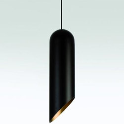 Tom Dixon - Tom Dixon | Pipe Pendant Light - This pipe pendant light is black on the outside and gold on the inside. It's a beauty of a pendant, made to make a statement.