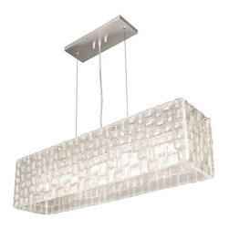 846740ST Pendant Constructivism - Pendant of individually cast Moonlit Mist clear glass pillow-shaped pieces, fused at high temperature in a hand-laid cobblestone pattern. The sole lenses create a fascinating light diffuser & sculptural form. Exposed metal in hand-applied silver leaf.