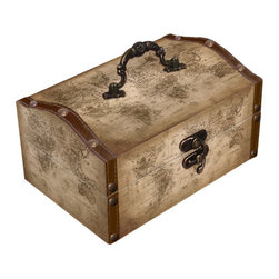 Old World Map Leather Vintage Style Treasure Box - Decorative box from Quickway Imports that is great for storage and decoration, And will fill any empty place in your home or heart.