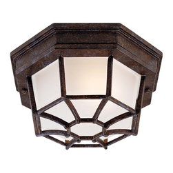 Savoy House - Exterior Collections Flush Mount - Decorate your favorite outdoor spaces to bring a sense of style Al Fresco! Rustic Bronze Finish with Frosted Glass and UL Damp Location rated