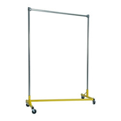 Z Racks - Heavy Duty 5 ft. Single Rail Z-Rack Garment R - Base Color: Yellow. 500lb capacity. 14 gauge, 60 in. Long steel base (Environmentally safe powder coated finish ). 16 gauge, 72 in. upright bars and hang rail. 1 5/16 outside diameter upright bars and hang rail. Grey non-marking soft rubber with TP center 4 in. casters. Made in the USA. 63 in. L x 23 in. W x 79 in. HThe apparel industry relies on space-saving clothes racks for many reasons but because the shape of the Z-Rack folds right into another unit, it is able to be moved out of the way. More floor space is a great reason to choose it, but so is this rack�۪s long-lasting durability. Able to hold 500 lbs, with a five foot base and uprights that extend up to six feet, it�۪s a mobile multi-purpose rack that can provide needed storage and organization anywhere you need more hanging space.