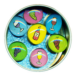 """Wine Glass Gem Magnet Set - Handmade in our studio, our Wine glass gem magnets started with a tiny painting which was reduced to size and reproduced. We use super strong ceramic magnets, so they're not only cute, they're functional. (Unlike those magnets that fall off when you close the refrigerator door!) Each magnet is about 3/4 inch wide, the tin is 2.75"""" wide. Set of 7 in a tin. Made in the USA."""