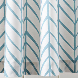 """Serena & Lily - Serena & Lily Feather Shower Curtain - Our take on timeless herringbone and chevron patterns, printed lines are loosely rendered for that extra design element. Mix or match with our signature bath towels  and have fun finding your own fresh combos of patterns and colors. 100% cotton canvas Machine wash Made in Portugal Shower curtain recommended; sold separately 72""""SQ"""