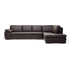 "J&M Furniture - 625 Black Full Top Grain Italian Leather Sectional Sofa - The J&M 625 sectional sofa comes fully upholstered in a beautiful top grain brown colored Italian Leather. High quality foam is placed within the sectional to allow for maximum comfort. All the corners of the sofa are ""blocked"", nailed, and glued for strength and durability. The seating area features a light tufted design that adds to the overall look of the sectional. A matching ottoman comes included with the pricing shown."