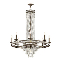 Crystorama - Crystorama 5268-EB-CL-MWP Chandelier - Our Mercer collection has all the angles covered. It is stunning no matter how you look at it. The metal work is as beautiful as the waterfall of crystal beads and faceted jewels that adorn it. From below, the metal forms a floral design, like something y