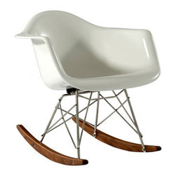 Inova Team -White Modern Rocking Chair - Comfortable and durable modern rocking chair, inspired by Eames. Very sleek, modern, and contemporary. Beautifully designed to enhance any perfect setting in a home or business.