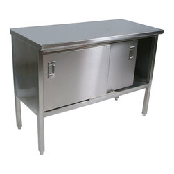 John Boos Commercial - John Boos SS Enclosed Base Work Table - 16Ga Top, Sliding Doors - John Boos 16-ga. Type 300 stainless steel work cabinet with flat top and sliding doors. Under shelf is secured in a fixed position 14-7/8 in. off the floor.