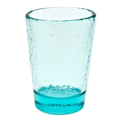 Fire & Light - Recycled Glass Tumbler, Aqua Blue - Beautiful, iridescent barware made from recycled glass and ready to be reused time and again with your favorite guests. The unique play of light that filters through the color of these wonderful glasses will enchant you. Made with over 91% recycled glass.