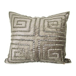 Design Accents Greek Jewels Circles Pillow - 20L x 20W in. - The Design Accents Greek Jewels Circles Pillow - 20L x 20W in. features a stylized, sparkling update to the classic Greek key design. The high-quality velvet cover features jeweled accents for stunning elegance. This modern design is available in a variety of colors so you can get just the right look.