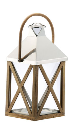 Kathy Kuo Home - Metal Wood Grand Glass Lantern with Wood Handle - Upstage the stars with this grand wood and glass lantern. Its classic neutral tones are elegant with the design wonder of the crisscross pattern, sleek metal top and wooden accents. While it's a beach house staple, you'll covet it for year-round gazing.