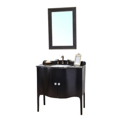 Bellaterra - 36.6 In Single Sink Vanity - Wood - Black - Constructed of solid wood, this traditional bathroom vanity is an exquisite design. Curved cabinet front and door panels  with rich black finish brings luxurious look. Crystal door knob adds glamorous look to any bathroom. Vanity dimension: 36.6Wx22Dx36H * ** * Birch* Black* Black Granite* White Ceramic Sink* Genuine crystal door knob* Pre-drilled with 3 holes- 8 in. center faucet, Faucet and mirror not included* No Assembly Required. Dimensions: 36.6 in. x 22 in.
