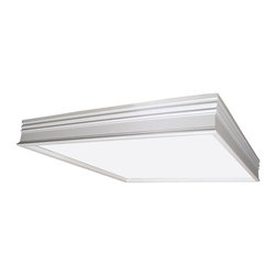 AFX - Square Fluorescent Surface Mounted Fixture - Requires two bulbs. Bulbs not included. Flush to traditional molding ceiling frame. Fixture body with a clip on one end and screw on the other. Diffuser is captive in the frame. Housing is die-formed of 22-gauge steel. 0.80 in. thick matte white acrylic diffuser. cULus listed for damp locations. Bulb type: T8. Maximum wattage: 32 Watts. Energy Star qualified. Warranty: Two years limited. Made from solid wood. White color. Made in USA. Mounting distance: 21 in.. 25.13 in. W x 25.13 in. D x 3.5 in. H (15 lbs.). Specifications. Assembly InstructionsCan be used in various applications including corridors, kitchens and public spaces. Fixture can be mounted on standard junction box.