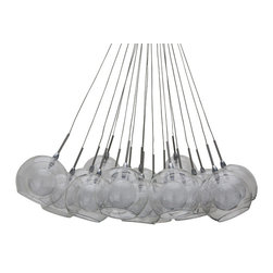 Nuevo Living - Aura Pendant Lamp, Chrome - Here's an extraordinary ceiling centerpiece for your favorite eclectic setting — the sort of fixture that's wildly original yet clean and classic too. A total of 19 (count 'em!) double-glass bowls descend from slender stems to fill your space with light and delight.