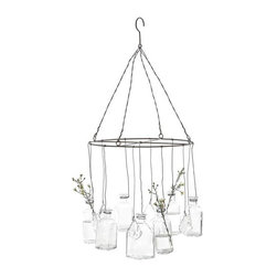 Glass Vase Chandelier - Make your own hanging arrangement in the multitude of sweet vintage-style glass vases that hang from the wires of this unusual lightless chandelier. They're accented with glimmering cut crystals to catch the light among your flowers.