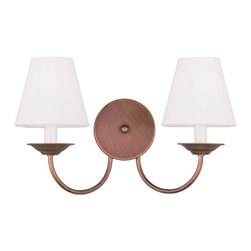 Livex Lighting - Livex Lighting 5272 Mendham Wall Sconce - Livex Lighting 5272 Mendham Two Light Wall SconceA retro inspired design, the Mendham dual light wall sconce showcases simple empire style fabric shades with for soft, pleasant lighting in any room.Livex Lighting 5272 Features: