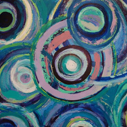 """Sarah Gentry - """"Fish Eyes 1"""" Original Oil and Wax Painting - This is an original oil and wax painting on board with 2"""" frame. The frame is natural wood."""