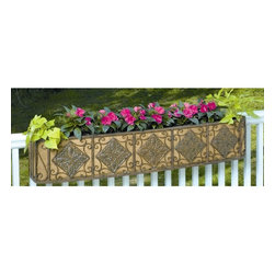 Deer Park Ironworks - Deer Park Ironworks Diamond Window Box with Coco Liner - WB138 - Shop for Planters and Pottery from Hayneedle.com! Add some color to your outdoor deck without taking up floor space with the Deer Park Ironworks Diamond Window Box with Coco Liner. Our sturdy planter made from heavy gauge steel and finished with a natural patina powder coat comes with mounting hardware to make it easy for you to attach it to a deck railing. It also comes with a form-fitted coco liner to aid in retaining soil and water.About Deer Park Ironworks Deer Park Ironworks has a reputation as a premier wrought iron lawn and garden company. They create timeless designs with quality materials and price them at competitive rates. All of their products are made from heavy gauge steel and have a durable powder-coated finish which are Earth-friendly since they emit zero or near zero volatile organic compounds. Deer Park's powder-coating finishes also produce a much thicker coating than conventional liquid coatings that sometimes run or sag. Furthermore Deer Park's products feature a unique natural patina appearance that complements any decor or color scheme. And their decorative baskets wall planters and window boxes come with a fitted coco liner that is a natural product that helps with proper drainage and provides a healthy environment for your plants to grow.
