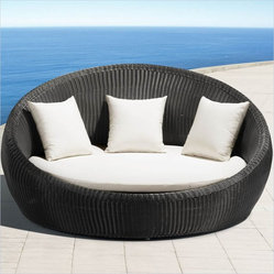 ZUO - Zuo Anjuna Aluminum Outdoor Bed - It has a carnival tilt-a-whirl shape, but instead of a bracing ride, this outdoor bed will cradle you and offer deep relaxation. The UV treated weave, rain resistant pillows and roomy bed create a delightful spot to unwind and enjoy the elements.