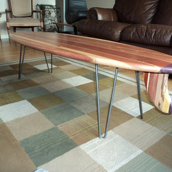 Surfboard Coffee Tables - California Redwood Surfboard Coffee Table w/ Hairpin Legs and a Modern Style Fin Made From Exotic Hardwoods.