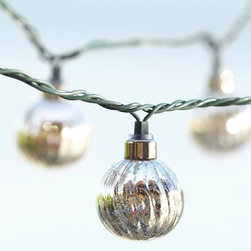 Mercury Glass Globe String Lights - String lights are a great way to add ambiance to your patio. Hang this mercury glass version on your umbrella, fence or deck railing.