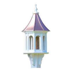 "Large Gazebo Bird Feeder Copper/Vinyl - Entice feathered friends while adding curb appeal to your place with this stunning gazebo feeder! Standing 36"" tall from base to finial, there's never any worries of rotting, cracking, splitting or fading... guaranteed!"