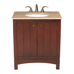 "Stufurhome - 32"" Charleston Single Sink Vanity with Travertine Marble Top - Add the 32 Charleston Single Sink Vanity to your bathroom space for a classic, elegant feel. Ideal for a wide range of design styles, from traditional to rustic, this piece makes a bold statement in spaces of all sizes. Featuring a paneled face, the two-door cabinet features a sculptural element with the arched design on the bottom apron. The marble or granite top is available in Baltic Brown and Travertineso you can completely customize your decor."