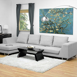 Baxton Studio - Metropolitan Large Grey Sectional Sofa with Chaise - Add modern styling to your home with this contemporary large sectional sofa. This sofa features a 3.5 seater design plus a chaise. It is made with high density foam and a sturdy hardwood frame. The upholstery has a stone grey finish.