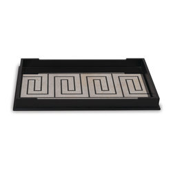 Port 68 - Palisades Mirror Tray - Functionality meets beauty in the sleek Palisades Mirror Tray. This oversized wooden tray is finished in black and features a velvet-lined bottom and reverse antiqued patina mirror with a black Greek key pattern. Suitable for a variety of different decor, this tray is perfect for both serving and decorative purposes.