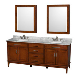 """Wyndham Collection - Hatton 80"""" Light Chestnut Double Vanity w/ White Carrera Marble Top & Oval Sink - Bring a feeling of texture and depth to your bath with the gorgeous Hatton vanity series - hand finished in warm shades of Dark or Light Chestnut, with brushed chrome or optional antique bronze accents. A contemporary classic for the most discerning of customers. Available in multiple sizes and finishes."""