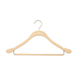 Clos-ette Too - Signature Slim Coat Hanger w/ Bar, Nude w/ Brass - The Signature Slim Coat Hanger With Bar is ideal for mens and womens suits. It maintains the shape of your garments shoulders without taking up space, and features a round, flocked bar for creaseless hanging. As with all our hangers, the Signature Slim Coat Hanger With Bar is flocked in a velvety non-slip material, ensuring your garment stay put. And because we use the highest quality composites and fabric, our clothing hangers never snap, unlike other brands on the market. We guarantee youll find our hangers to be longer lasting and better for your clothes than the competition. Skinny, 1/5 profile saves space. Rounded shoulders specifically designed to maintain garment shape. Rounded bars for creaseless hanging. 18 width and super-durable composition stands up to heavy and broad-shouldered garments as well as any wooden hanger. Shorter vertical drops maximize vertical space in your closet.