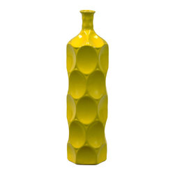 Urban Trend - Medium Yellow Ceramic Bottle - Give your decor a new look with this attractive piece. This decorative accessory features ceramic construction.